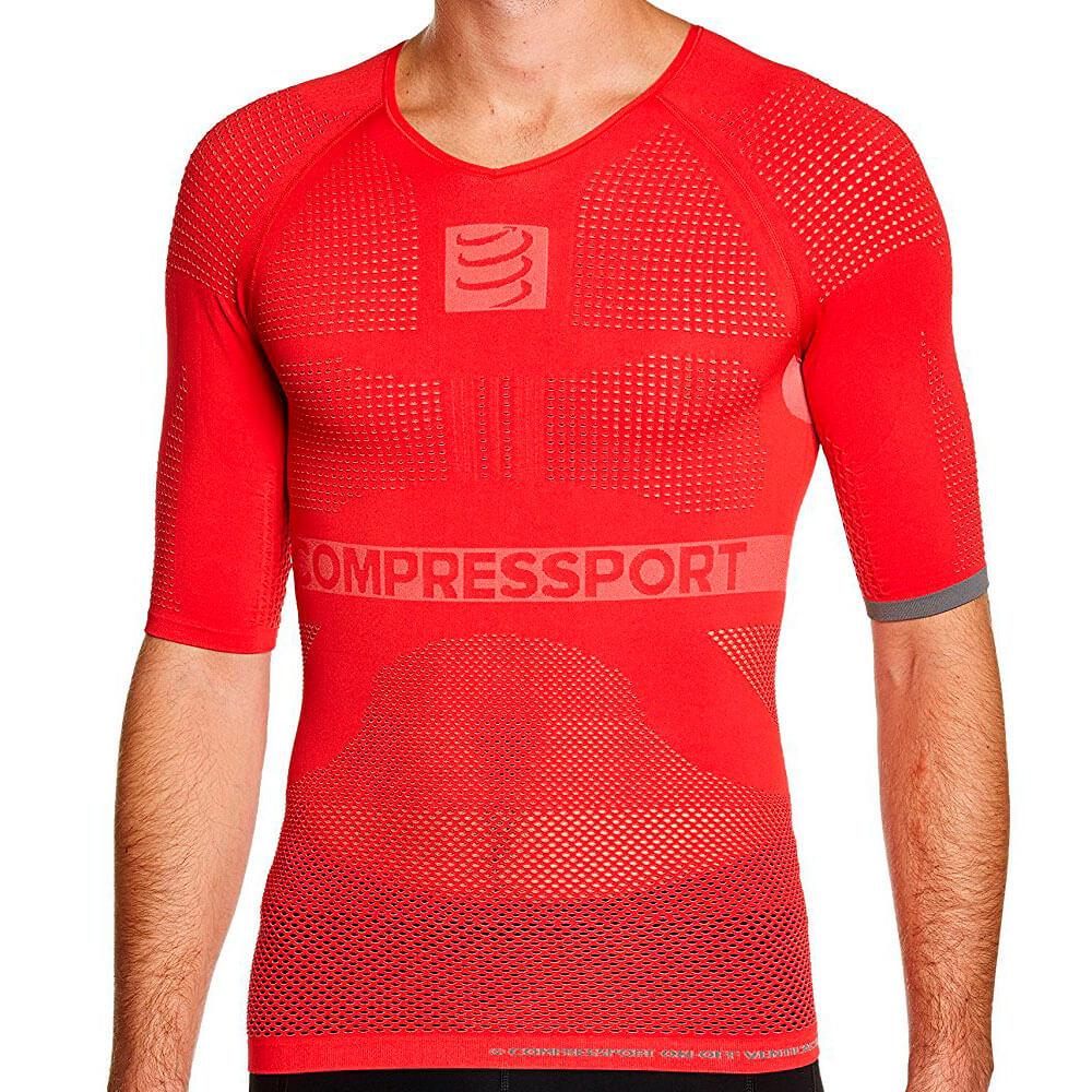 Camisa de Compressão ON OFF Compressport Manga Curta - Vermelha - Unissex -  Keep Running Brasil - Keep Running fff06b4cc69d6