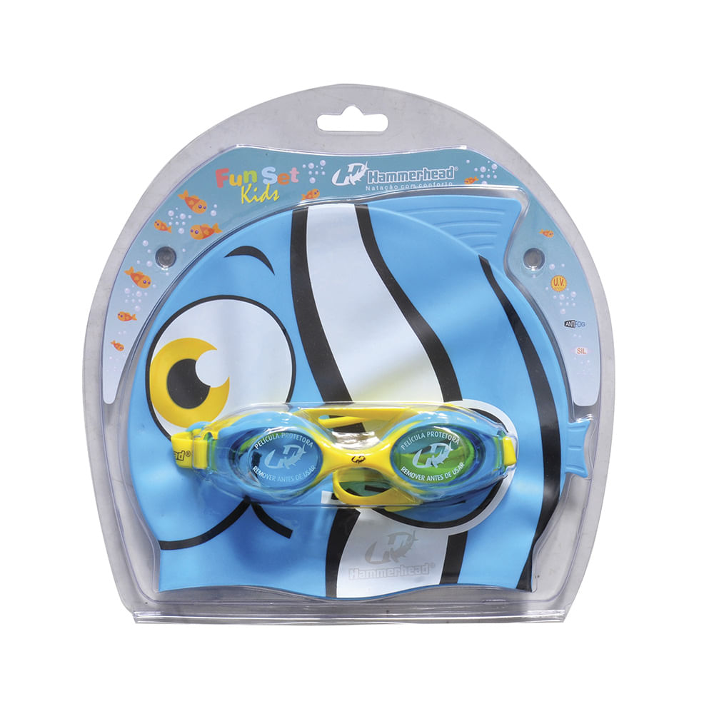 d22b8a632a89e Kit de Natação Fun Set Kids - Hammerhead - Peixinho Azul e Amarelo - Keep  Running