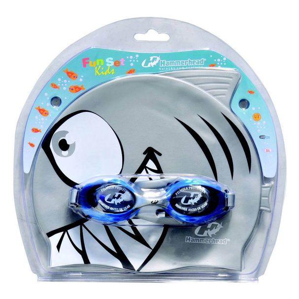 d6f1e5cb4bad4 Kit de Natação Fun Set Kids - Hammerhead - Tubarão Prata e Azul - Keep  Running Brasil - Keep Running