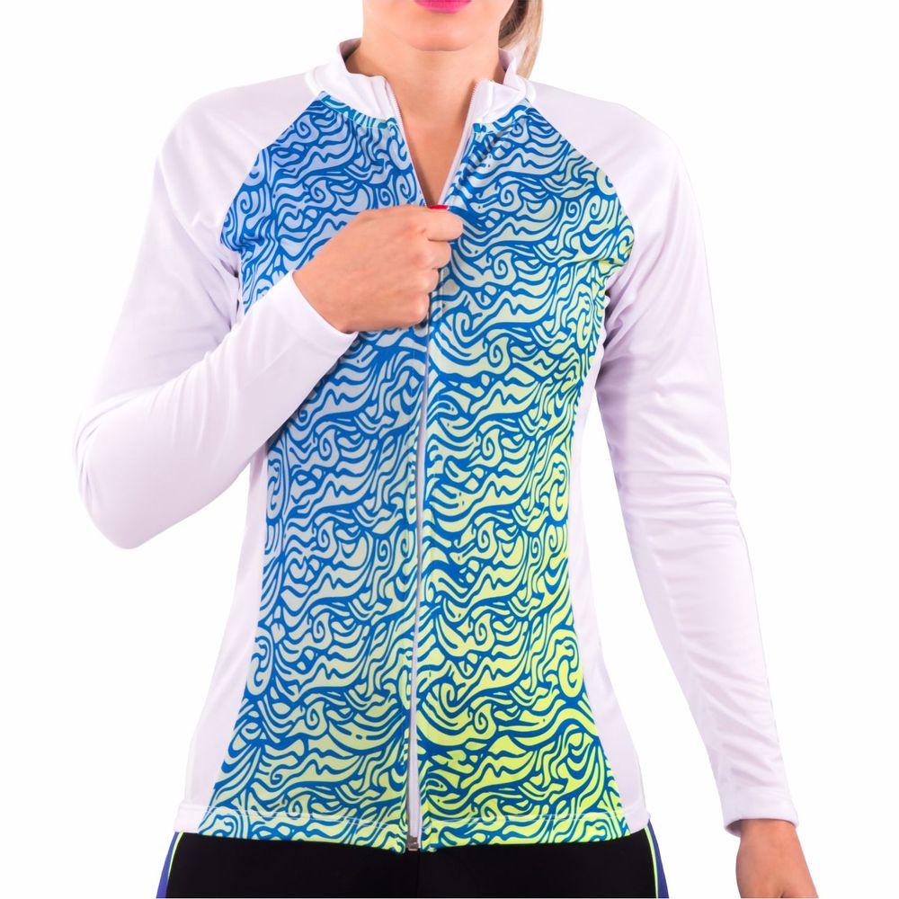 4e92f233fa Camisa de Ciclismo Montop Manga Longa DX3 - Feminina - Branco   Verde    Azul - Keep Running Brasil - Keep Running