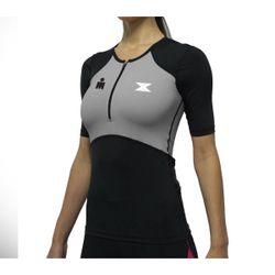 Camisa Bike de Compressão DX3 X-Pro IRONMAN - Feminino- Preto / Cinza