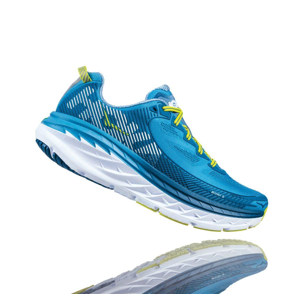 df37389e428 Tênis HOKA ONE ONE Bondi 5 Masculino Azul   Verde Limão - Keep Running  Brasil - Keep Running