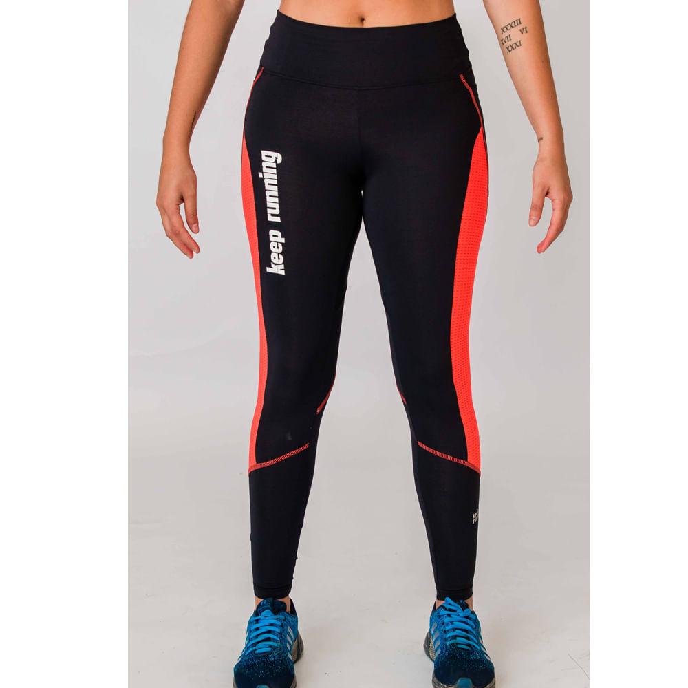 f9ee49965ba60 Calça Keep Running Feminina - Preta   Coral - Keep Running Brasil - Keep  Running